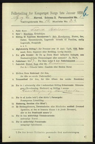 Image from object titled Folketelling 1891 - Bjelland og Grindheim - personsedler - side 934