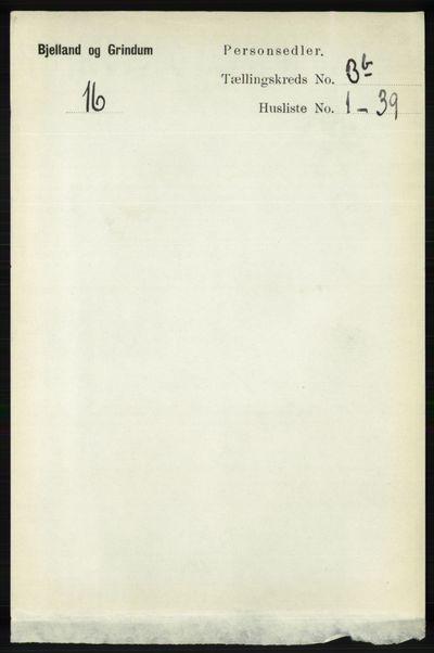 Image from object titled Folketelling 1891 - Bjelland og Grindheim - personsedler - side 1789