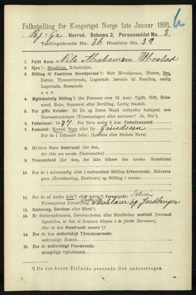 Image from object titled Folketelling 1891 - Bjelland og Grindheim - personsedler - side 2018