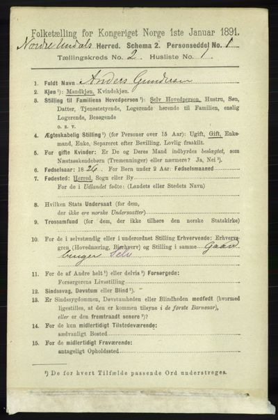Image from object titled Folketelling 1891 - Nord-Audnedal - personsedler - side 355