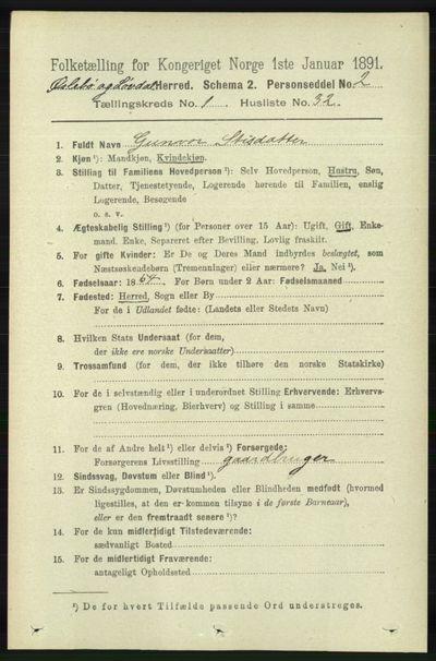 Image from object titled Folketelling 1891 - Øyslebø og Laudal - personsedler - side 281
