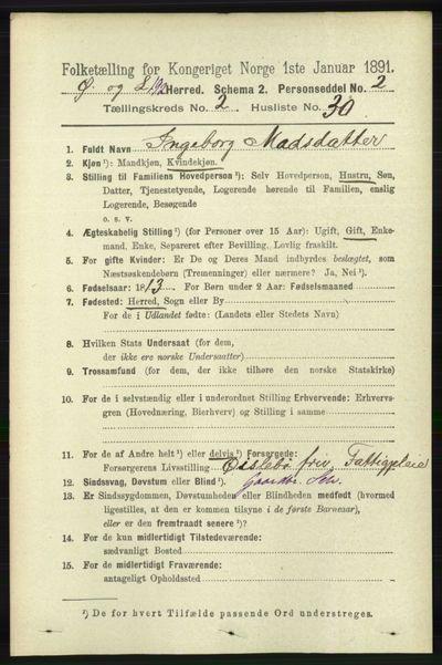 Image from object titled Folketelling 1891 - Øyslebø og Laudal - personsedler - side 633