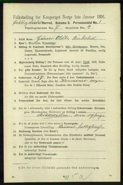 Image from object titled Folketelling 1891 - Øyslebø og Laudal - personsedler - side 1950