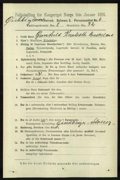 Image from object titled Folketelling 1891 - Øyslebø og Laudal - personsedler - side 2275