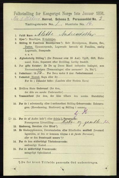 Image from object titled Folketelling 1891 - Hidra og Nes - personsedler - side 186