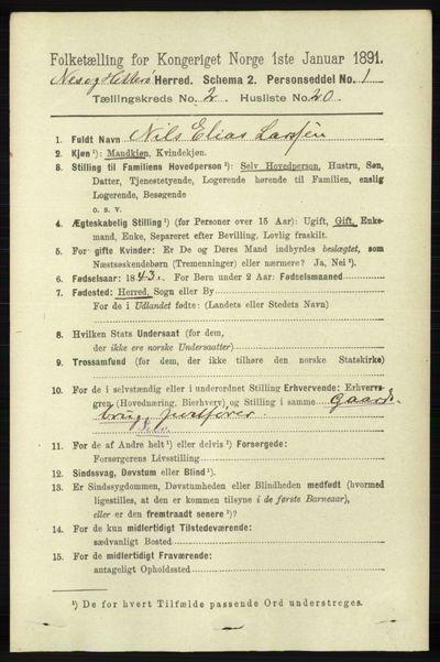Image from object titled Folketelling 1891 - Hidra og Nes - personsedler - side 649