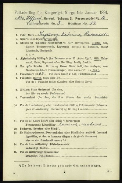 Image from object titled Folketelling 1891 - Hidra og Nes - personsedler - side 972