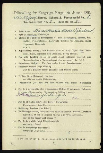 Image from object titled Folketelling 1891 - Hidra og Nes - personsedler - side 1014