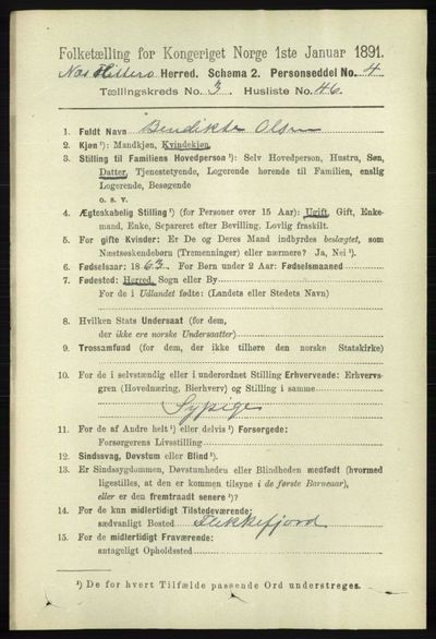 Image from object titled Folketelling 1891 - Hidra og Nes - personsedler - side 1136