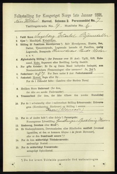 Image from object titled Folketelling 1891 - Hidra og Nes - personsedler - side 1474
