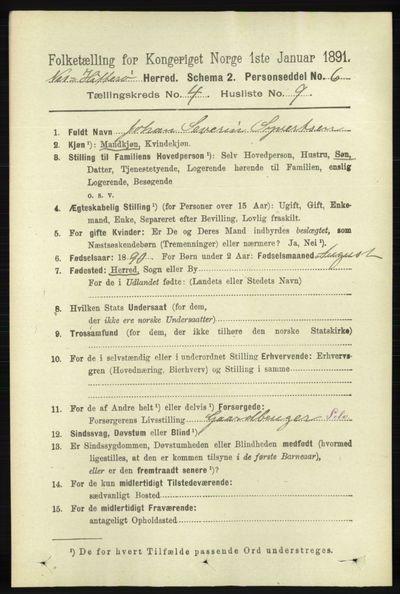 Image from object titled Folketelling 1891 - Hidra og Nes - personsedler - side 1490