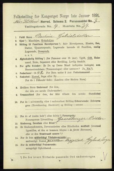 Image from object titled Folketelling 1891 - Hidra og Nes - personsedler - side 1672