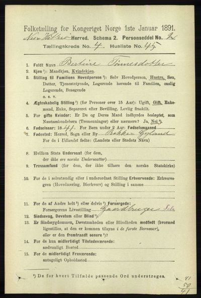 Image from object titled Folketelling 1891 - Hidra og Nes - personsedler - side 1709