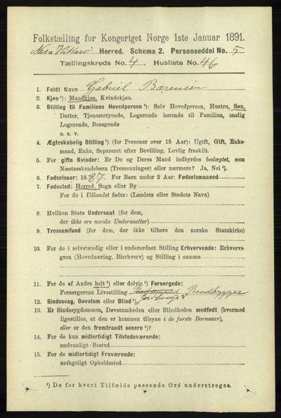 Image from object titled Folketelling 1891 - Hidra og Nes - personsedler - side 1719