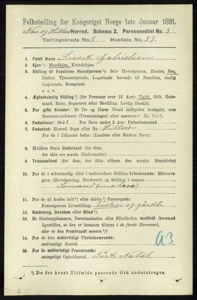 Image from object titled Folketelling 1891 - Hidra og Nes - personsedler - side 3610