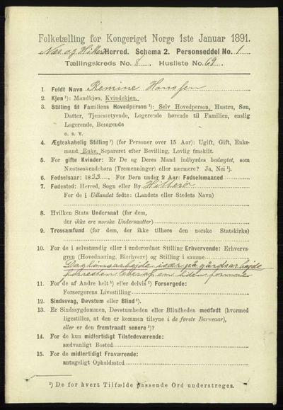 Image from object titled Folketelling 1891 - Hidra og Nes - personsedler - side 3682