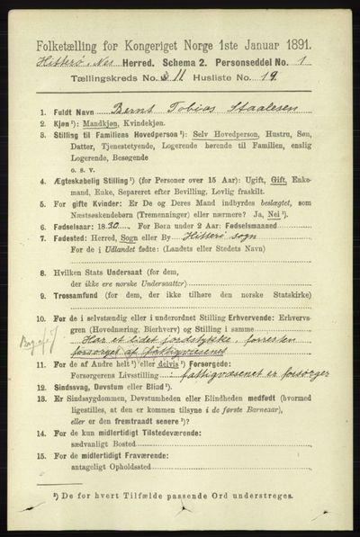 Image from object titled Folketelling 1891 - Hidra og Nes - personsedler - side 4570