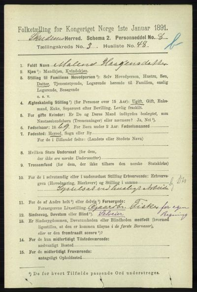 Image from object titled Folketelling 1891 - Skudenes - personsedler - side 4254