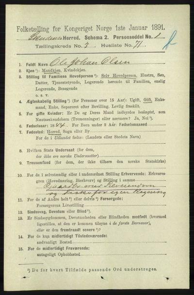 Image from object titled Folketelling 1891 - Skudenes - personsedler - side 4372