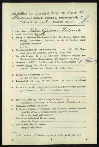 Image from object titled Folketelling 1891 - Skudenes - personsedler - side 4626