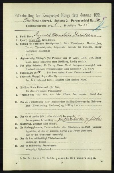 Image from object titled Folketelling 1891 - Skudenes - personsedler - side 5511