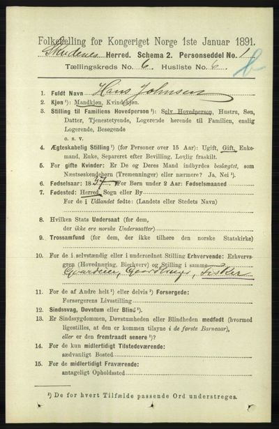 Image from object titled Folketelling 1891 - Skudenes - personsedler - side 5612