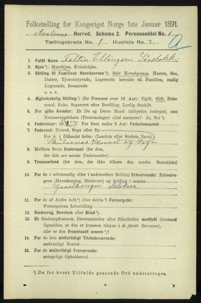 Image from object titled Folketelling 1891 - Avaldsnes - personsedler - side 174