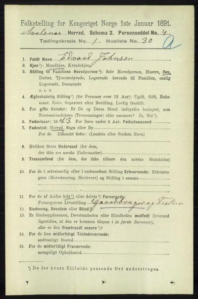 Image from object titled Folketelling 1891 - Avaldsnes - personsedler - side 330