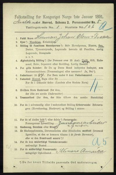 Image from object titled Folketelling 1891 - Avaldsnes - personsedler - side 741