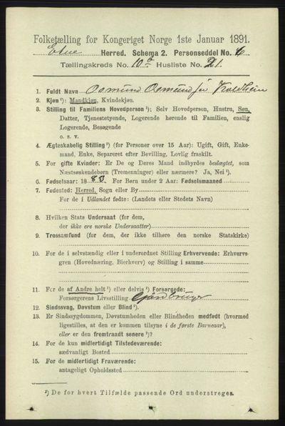 Image from object titled Folketelling 1891 - Etne - personsedler - side 2083