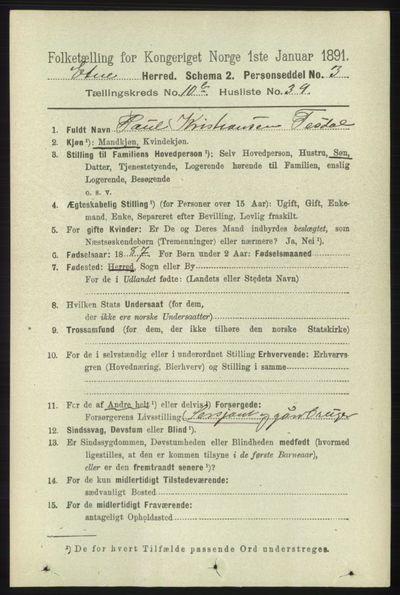 Image from object titled Folketelling 1891 - Etne - personsedler - side 2154