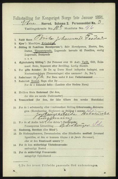 Image from object titled Folketelling 1891 - Etne - personsedler - side 2185