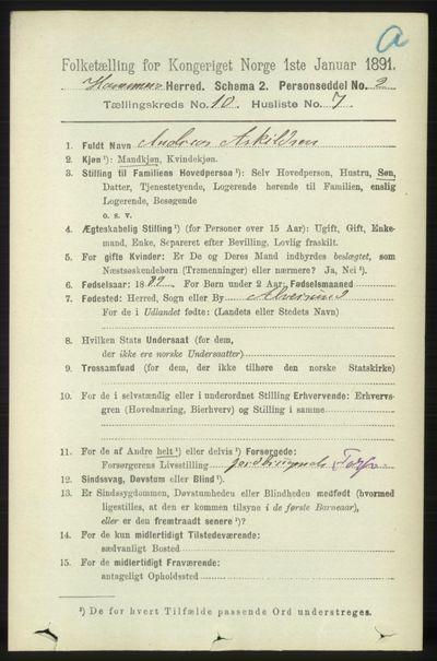 Image from object titled Folketelling 1891 - Hamre - personsedler - side 2820