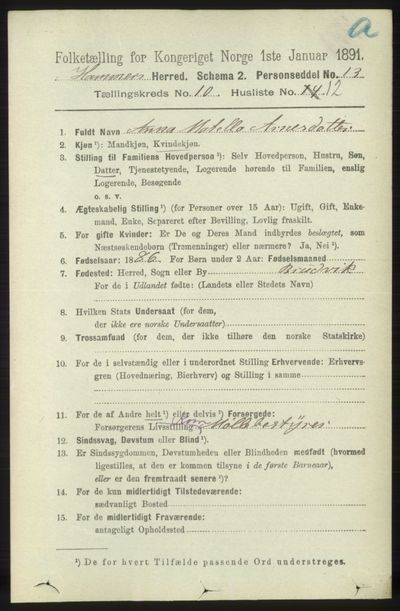 Image from object titled Folketelling 1891 - Hamre - personsedler - side 2854