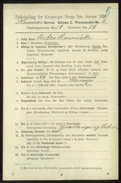 Image from object titled Folketelling 1891 - Hamre - personsedler - side 3116