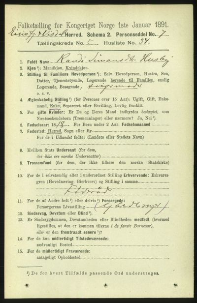 Image from object titled Folketelling 1891 - Eresfjord og Vistdal - personsedler - side 1302