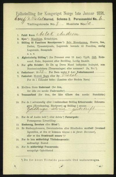 Image from object titled Folketelling 1891 - Eresfjord og Vistdal - personsedler - side 2442