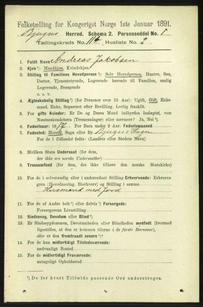 Image from object titled Folketelling 1891 - Bjugn - personsedler - side 3177
