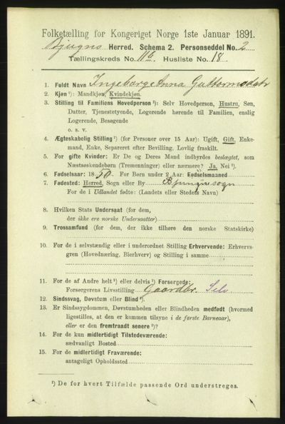 Image from object titled Folketelling 1891 - Bjugn - personsedler - side 3282