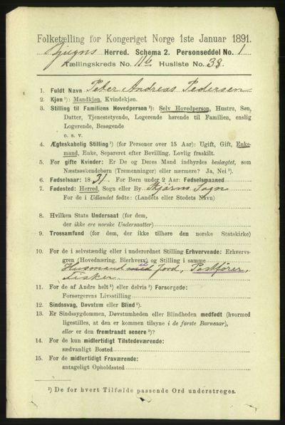 Image from object titled Folketelling 1891 - Bjugn - personsedler - side 3435