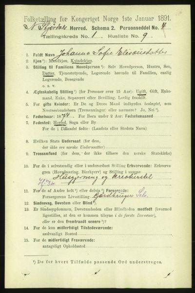 Image from object titled Folketelling 1891 - Nedre Stjørdal - personsedler - side 164