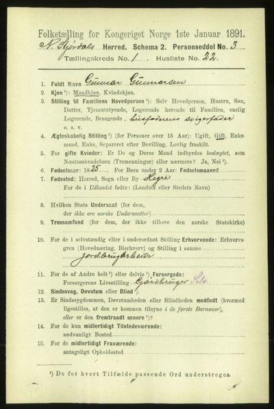 Image from object titled Folketelling 1891 - Nedre Stjørdal - personsedler - side 238
