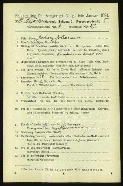 Image from object titled Folketelling 1891 - Nedre Stjørdal - personsedler - side 269