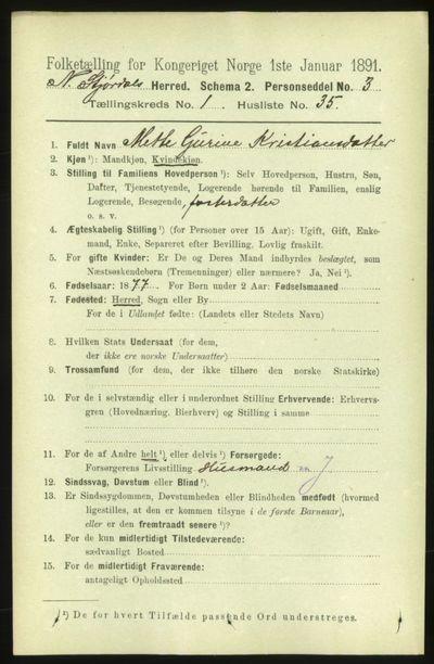 Image from object titled Folketelling 1891 - Nedre Stjørdal - personsedler - side 320