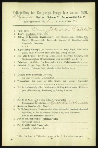 Image from object titled Folketelling 1891 - Nedre Stjørdal - personsedler - side 764