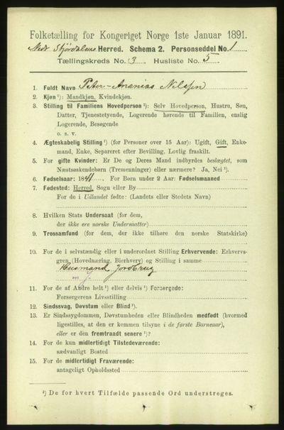 Image from object titled Folketelling 1891 - Nedre Stjørdal - personsedler - side 1071