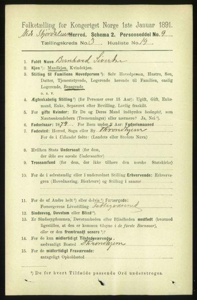 Image from object titled Folketelling 1891 - Nedre Stjørdal - personsedler - side 1171