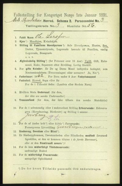 Image from object titled Folketelling 1891 - Nedre Stjørdal - personsedler - side 1371