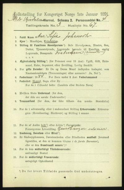 Image from object titled Folketelling 1891 - Nedre Stjørdal - personsedler - side 1429