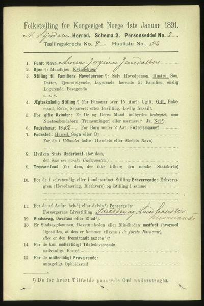 Image from object titled Folketelling 1891 - Nedre Stjørdal - personsedler - side 1894